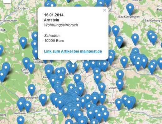 Datenjournalismus: Screenshot des Visualisierung der Einbrüche in Unterfranken