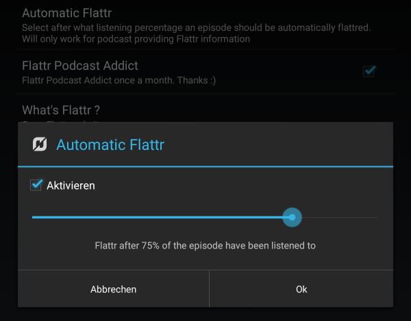 Podcast Addict mit Flattr-Integration